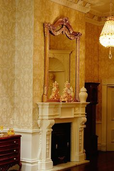 Sue Cook Miniatures   Georgian elegance with the yellow wallpaper enhances the PF9 and OM9 fireplace set set