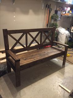 Beautiful, Country bench. Custom made by Knotty Wood Creations @theknottywoodcreations - Facebook Furniture Making, Wood Furniture, Outdoor Furniture, Outdoor Decor, Country Bench, Wood Creations, Custom Made, Rustic, Facebook