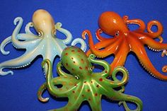 Life Like Octopus Wall Decor 3-D Poly-resin Vivid Colors 6 inches O-6 /& 8