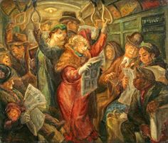 Freedom of the Press, signed 'Don Freeman' (lower left) and inscribed 'Freedom of the Press/Don Freeman' on reverse, oil on canvas laid to board 24 x 28 in. Freedom Of The Press, Freedom Of Speech, American Scene Painting, Don Freeman, Social Realism, Art Students League, Russian Painting, Magic Realism, Subway Art