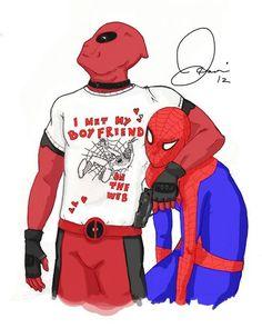 Deadpool n Spidey Spideypool, Superfamily, Dead Pool, Marvel Funny, Marvel Dc Comics, Deadpool Y Spiderman, Slash, Men Looks, Marvel Universe