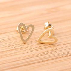 open heart stud earrings in gold