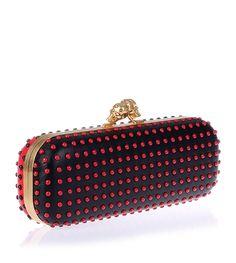 Alexander McQueen Black red studded clutch $1152