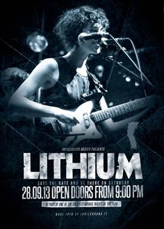 """Free Indie Rock Template Vol.9 - http://freepsdflyer.com/free-indie-rock-template-vol-9/ """"Lithium"""" – This Free Indie Rock Template Vol.9 was designed to promote a Grunge / Alternative / Rock / Metal / Hard Rock music event, such as a gig, concert, festival, party or weekly event in a music club and other kind of special evenings.   #80SNights, #Beats, #Club, #Dance, #IndieRock, #Lounge, #Night, #Party, #Pub, #Retro, #Rock, #RockParty"""