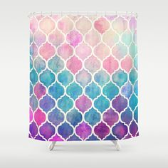 Upstairs main - Rainbow Pastel Watercolor Moroccan Pattern Shower Curtain by Micklyn | Society6