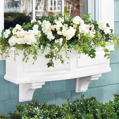 Pots to Save Time & Precious Resources Windowsill Companion. This elegant window box planter from Grandin Road transports us to New England. This elegant window box planter from Grandin Road transports us to New England. Urn Planters, Window Planter Boxes, Window Sill, Outdoor Planters, Self Watering Pots, Window Box Flowers, White Gardens, Container Gardening, Succulent Containers