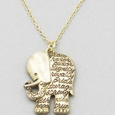 Elephant inspirational message necklace gold New! Antique gold tone 16 plus 2 inch extender necklace. Use the add to bundle feature and save 15.%. #elephant Jewelry Necklaces