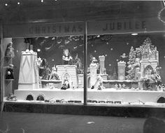 Vintage Christmas Photograph ~ Christmas window display from the Household Outfitting Company * Scranton, PA. * Date Unknown (You can click through to see an enlarged version of the photo. They show great detail. Ghost Of Christmas Past, Christmas Train, Christmas Store, Retro Christmas, White Christmas, Christmas Windows, Christmas Window Display, Christmas Displays, Christmas Decorations