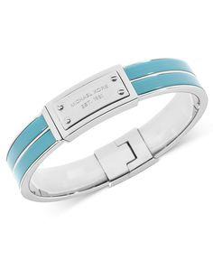 Michael Kors Bracelet, Silver-Tone Turquoise Epoxy Logo Plaque Bangle Bracelet - Fashion Jewelry - Jewelry & Watches - Macy's
