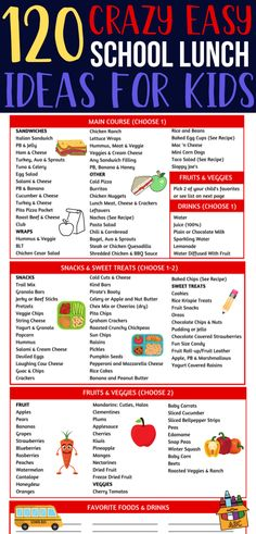 Easy school lunch ideas for kids! So many back to school lunches to pack my children for school! Over 120 combinations for yummy kid friendly lunches, many make ahead options including sandwiches, wraps, snacks & more! FREE lunch ideas printable to make Back To School Lunch Ideas, Healthy School Lunches, School Ideas, Work Lunches, School Snacks For Kids, Packed Lunch Ideas For Kids, Easy Lunch Ideas, School Lunch Prep, School Lunch Recipes