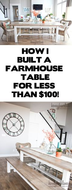 DIY Farmhouse Table-I also love the weathered wood stain and finish and she did it all for less than $100!