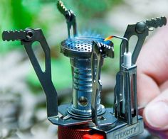 A hot meal is never far away when you head into the great outdoors equipped with this ultra portable camping stove. Made of stainless steel and aluminum alloy, it's designed to stand up to high temperatures and latches on to any propane canister in seconds.