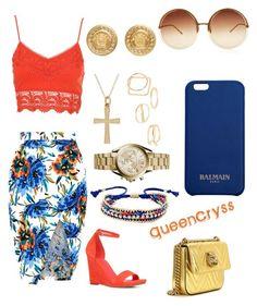 """Summer Nights 76 degrees, he has a jacket."" by queencryss on Polyvore featuring New Look, ALDO, Gucci, Ettika, Linda Farrow, Michael Kors, MANGO, Balmain and Versace"