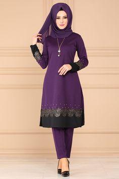 Modaselvim KOMBİN Gold Güpürlü 3 Lü Kombin PL867 Mor Abaya Fashion, Mode Hijab, Niqab, Muslim, Blouse, Womens Fashion, Dresses, Dress Ideas, Style