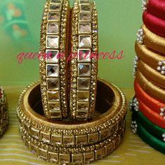 Silk Thread Earrings Designs, Silk Thread Bangles Design, Thread Jewellery, Gold Jewellery Design, Jewellery Making, Kundan Bangles, Silk Bangles, Thread Art, Bangle Set