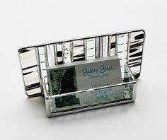 Stained Glass Business Card Holder Black White by GaleazGlass via Etsy