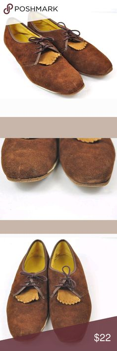 "Vintage Oxfords 7.5 Brown Suede Retro Hipster True vintage brown suede oxfords. Size 7.5 D. Measures approx 10.75"" from toe to heel on outside sole.  Pre-loved. Bottom soles two different colors. Minor scuffs in suede, mainly near toe area. Vintage Shoes Flats & Loafers"