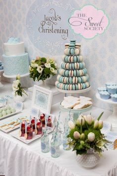 Baby Boy Baptism or Christening Party  Styling - http://thesweetsociety.com.au/  Cake, cupcakes, cookies & macarons - www.sweettiers.com.au  Cake pops - https://www.facebook.com/3sweettreats?directed_target_id=0  Raspberry Mousse - Burch & Purchese Sweet Studio http://www.burchandpurchese.com  Wooden spoons - Bespoke Party Products  Paperie - Green Beansie Ink www.greenbeansieink.com  Flowers - Velvet Lily Florist http://velvetlily.com.au  Photography - www.casamentophotography.com.au