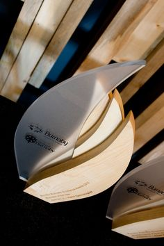 Burnaby Board of Trade awards. Maple hardwood and semi-translucent acrylic. Stunning handcrafted, custom trophy design.