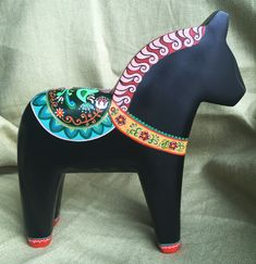 Oil painting small wooden horse