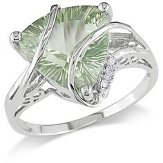 Ice Diamond, Green Amethyst 14k White Gold Ring ($715) ❤ liked on Polyvore