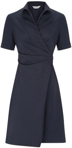 Max Mara Navy tie fastening cotton wrap dress on shopstyle.co.uk