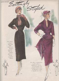 The 1950 Fall Modes Royale catalogue. Fashion Illustration Sketches, Fashion Sketches, Fashion Drawings, Spotty Dog, Retro Fashion, Vintage Fashion, Vogue Photography, 20th Century Fashion, Vintage Dress Patterns