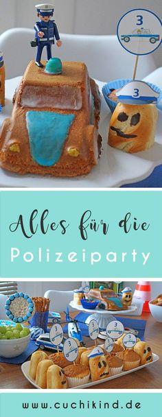 Alles für die Polizeiparty: Polizeikuchen, Milchbrötchen mit Polizeimütze, Muffinspieße, Reiswaffeln als Kelle.