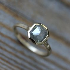 Rose Cut Grey Diamond Gold Engagement Ring Gray by onegarnetgirl