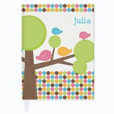 Personalized Cutie Bird Tree Journal  Custom Journal by Frecklebox