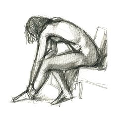 Nude Female Charcoal Drawing Seated Bending by GalleryintheGarden, $14.00