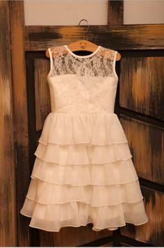Ivory+Lace+Chiffon+Flower+Girl+Dress+Ruffle+Layers+by+deepado,+$43.99