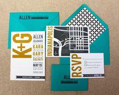 Aqua, Gray  and Yellow Letterpress Wedding Invitations. $10.00, via Etsy.