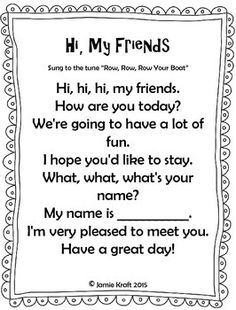 Every class should start out with a HELLO song to get the day started. Here is s FREEBIE of 10 songs that an teacher can use to say Hello and Good Morning! Songs Included in this booklet: Kindergarten Songs, Preschool Music, Preschool Lesson Plans, Hello Songs Preschool, Preschool Good Morning Songs, Preschool Classroom, Songs For Toddlers, Kids Songs, Hello Song For Kids