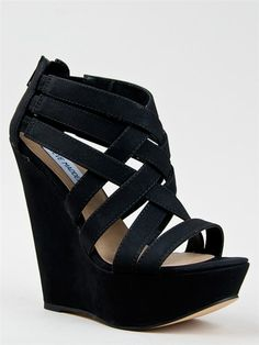 c1414bea99600 Like Steve Madden High Heels, Black Strappy Wedges, Beautiful Shoes, Pretty  Shoes,
