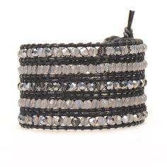 In-Stock and Ships in 24-hours. Victoria Emerson 5-Wrap Bracelet. Gray Agate & Crystals on Black 100% hand made with care. Unbelievable attention to detail.