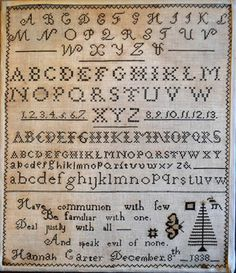 Quaker Alphabet Sampler - Must stitch this....love the verse!