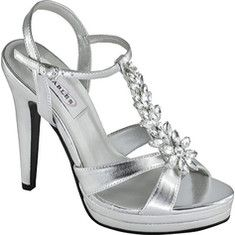 This elegant strappy sandal features a T-strap with jeweled ornamentation for a dazzling, eye-catching look.The platform and heel provide added height, and the ankle strap is adjustable for a secure, comfortable fit.