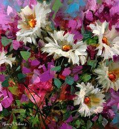 Necessary Pinkness Flower Painting, Daisies and Delphiniums, 14X14 www.nancymedina.com