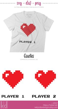 Gamer Couple svg file with bitmap hearts - cute gift for a gaming couple - Free Personal Use by Kelly Lollar Designs