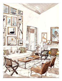 Tom Scheerer limited edition giclée fine art prints for sale. Mita Corsini Bland painted this watercolor interior illustration of his flawlessly designed room. Interior Design Renderings, Drawing Interior, Interior Rendering, Interior Sketch, Interior Paint, Croquis Architecture, Plans Architecture, Interior Architecture, Classical Architecture