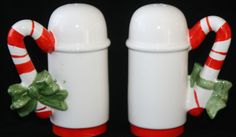 Vintage Christmas Salt and Pepper Shakers Candy Canes Red White Green Bows Japan