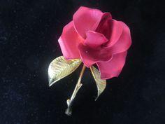 Signed Cerrito Red Velvet Texture Gold Plate Rose Pin Brooch #Cerrito
