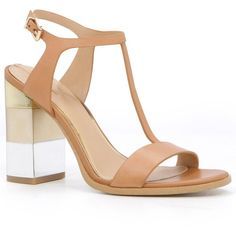 Aldo Feltrone Block Heel T-Bar Sandal (€59) ❤ liked on Polyvore featuring shoes, sandals, strap sandals, aldo sandals, strap heel sandals, high heel sandals and t strap sandals