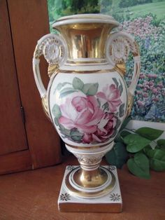 Vintage Porcelain Hand Painted Urn Lamp Base Pink Roses Vintage Porcelain Lamp Bases Pink Roses