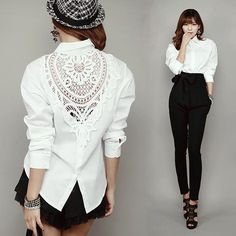 Feminine Shirt White Crochet Body Feminine Blouse Long Sleeve Turn Down Collar Lace Blouses Women Clothing Top-inBlouses & Shirts from Women's Clothing & Accessories on Aliexpress.com | Alibaba Group