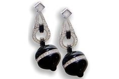 SILVER ART DECO DROP EARRINGS WITH ONYX.