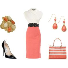 Untitled #179, created by achristie on Polyvore.  Gotta love pencil skirts
