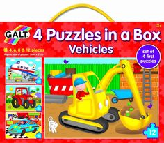 Galt Vehicles - 4 Puzzles in a Box Set of 4 first puzzles featuring vehicles. Puzzles have different numbers of pieces to encourage the development of matching and sorting skills. Size of puzzles 15 x 21 cm Ages 3+
