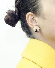 Handmade Hexagon Earrings, Big size: Diameter 2 cm. Materials: Wood, Black Plexiglass and Brass ( Studs ). #geometric #minimal #complementary #design #wood #plexiglass #jewelry #essential #deco #double #style #hexagon #earrings #black #brass #pins